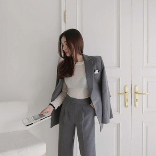 長袖褲裝 氣質西裝外套+修身直筒西裝褲套裝 艾爾莎【THB4146】 2