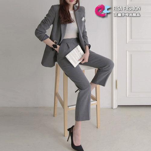 長袖褲裝 氣質西裝外套+修身直筒西裝褲套裝 艾爾莎【THB4146】