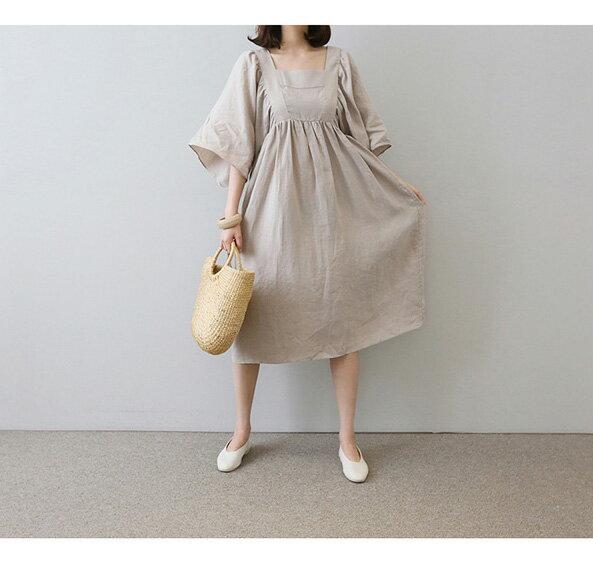 棉麻洋裝 休閒風方領高腰五分袖亞麻連身裙 艾爾莎【THB5292】 1
