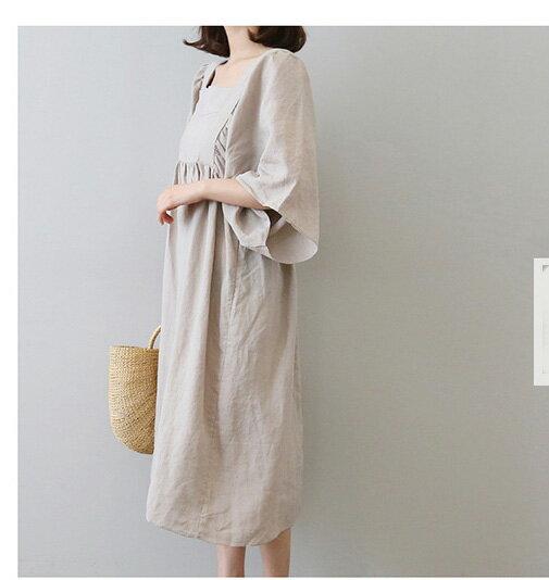棉麻洋裝 休閒風方領高腰五分袖亞麻連身裙 艾爾莎【THB5292】 2
