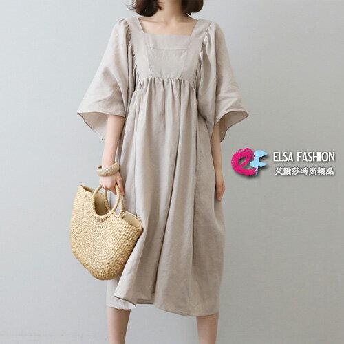 棉麻洋裝 休閒風方領高腰五分袖亞麻連身裙 艾爾莎【THB5292】 0