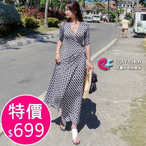 開叉洋裝 經典黑白圖案V領連身裙 艾爾莎【THB5298】 0