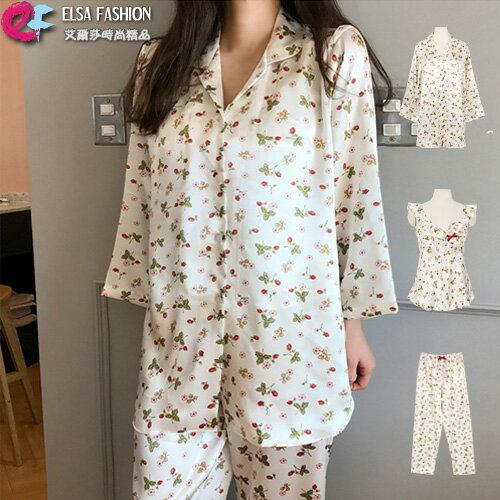 睡衣套裝可愛甜美草莓圖案背心+舒適長褲+棉柔外套三件式套裝艾爾莎【THB5385】
