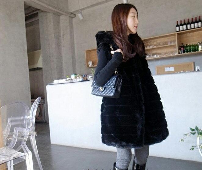 開襟背心 時尚仿兔毛收腰設計連帽外搭背心 艾爾莎【THQ00003】 2