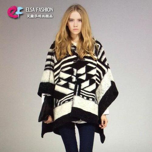 羊毛外套歐美時尚拼色仿羊絨大衣外套艾爾莎【TOY2303】