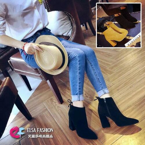 馬靴馬丁靴女鞋靴子 簡約美型後綁帶尖頭粗跟短靴 艾爾莎~TSB8663~