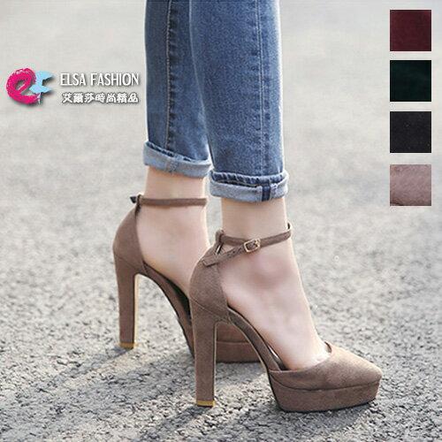 女鞋高跟鞋前衛美感一字釦尖頭高跟涼鞋艾爾莎【TSB8742】