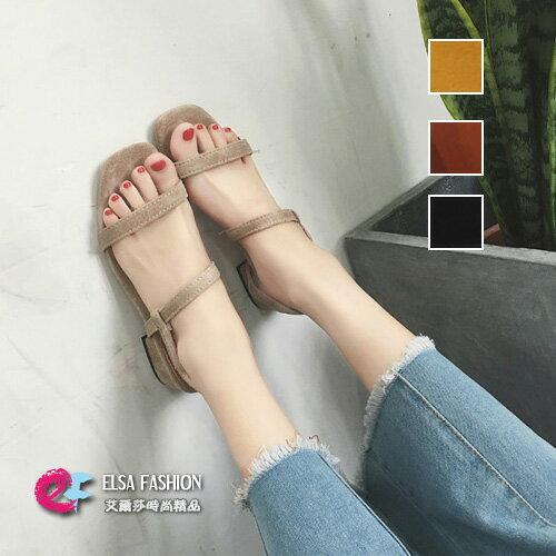 涼鞋夏季百搭方頭涼鞋艾爾莎【TSB8780】