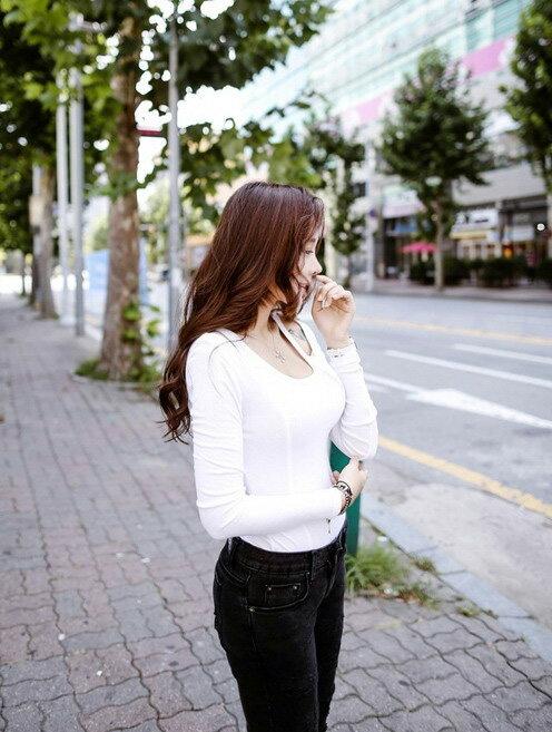 V領T恤*艾爾莎*加厚露肩V領修身顯瘦長袖T恤【TAK2333】 1
