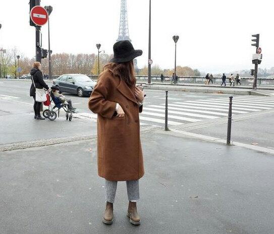 棉襖羽絨外套長大衣韓風*艾爾莎*男友風加厚夾棉保暖雙排釦長版寬鬆大西裝外套【TAK2403】 1