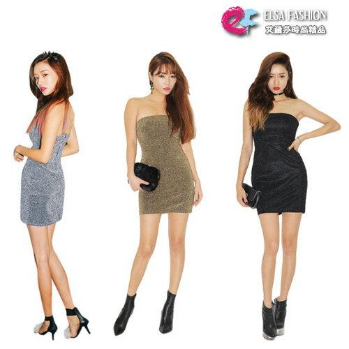 PartyOn*艾爾莎*時尚夜店趴閃亮珠光抹胸連身裙【TAK2469】 0
