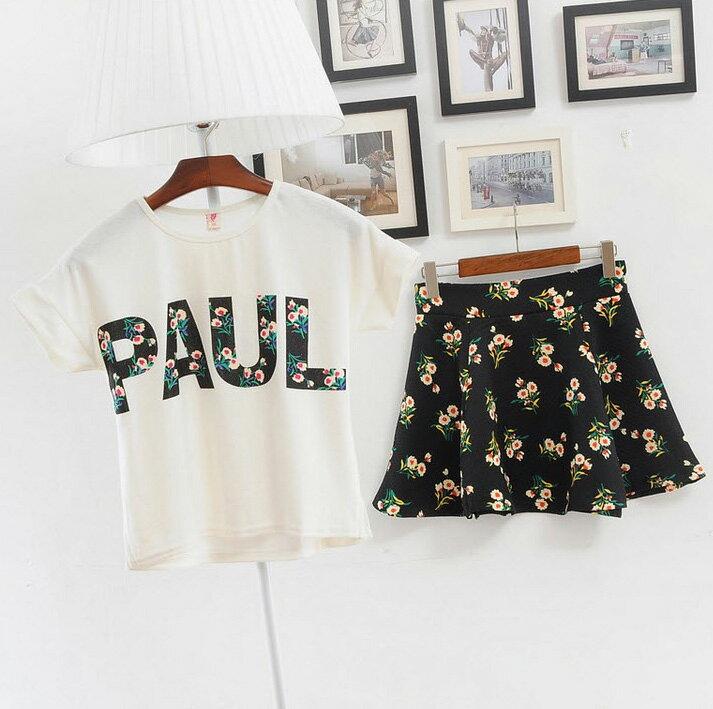 套裝*艾爾莎*時尚街拍T恤+A字裙兩件套裙【TAM1037】 2