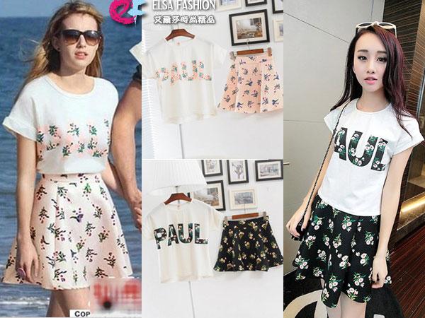 套裝*艾爾莎*時尚街拍T恤+A字裙兩件套裙【TAM1037】 0