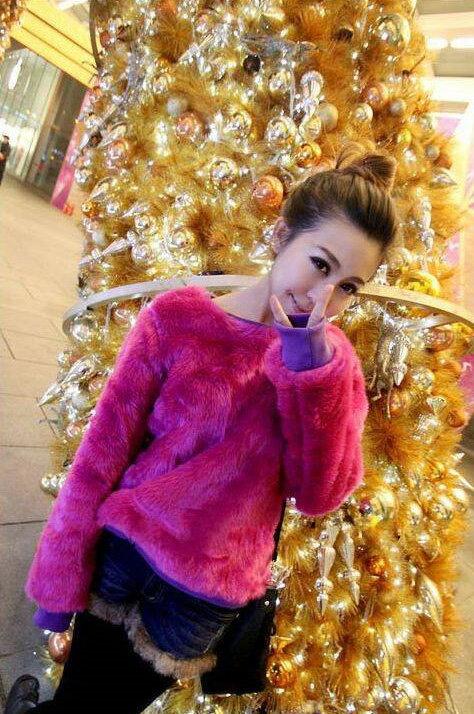皮草*艾爾莎*聖誕寬鬆仿皮草毛芭比娃娃保暖絨衫S~L【TAN5245】 2