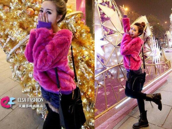 皮草*艾爾莎*聖誕寬鬆仿皮草毛芭比娃娃保暖絨衫S~L【TAN5245】 0