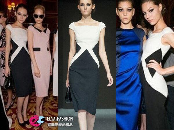 品牌服飾*艾爾莎*時尚優雅簡約黑白拼色連身裙S~XL【TAT7349】 0