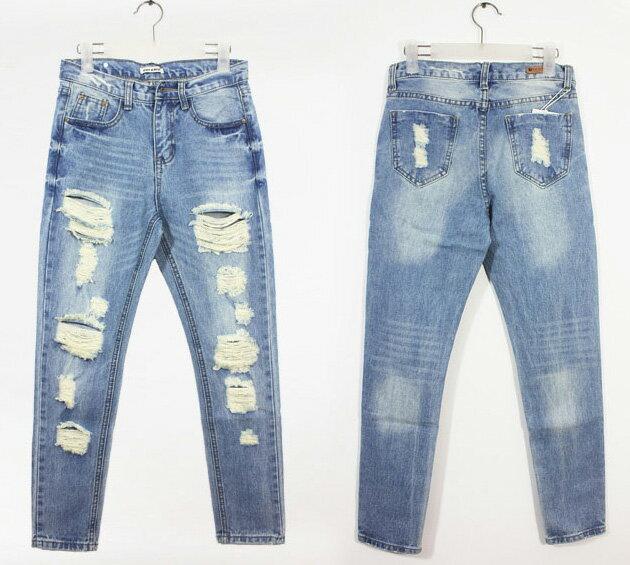 牛仔長褲*艾爾莎*時尚寬鬆破洞直筒牛仔褲S~XL【TAT7414】 2