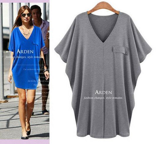 大尺碼裙子*艾爾莎*純色深V領寬鬆大蝙蝠袖連身裙L~XXXL【TAW2005】 2