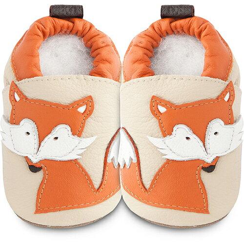 【HELLA 媽咪寶貝】英國 shooshoos 安全無毒真皮手工鞋/學步鞋/嬰兒鞋_米色/橘狐狸_SSF70 (公司貨)