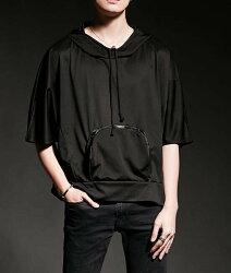FINDSENSE 韓國潮流 個性 寬鬆 連帽 口袋 五分 時尚 街頭潮男 夜店 DJ 發型師 必備 短袖T恤 特色短T