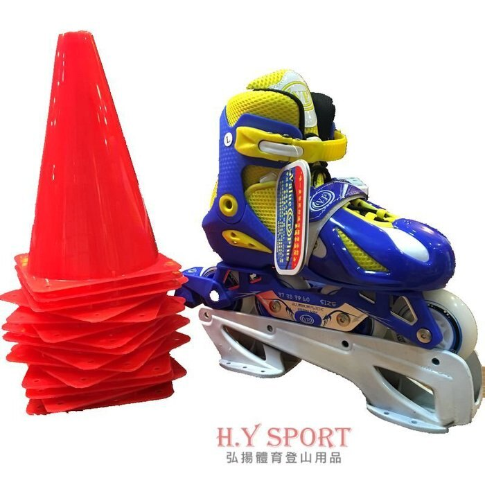 【 H.Y SPORT】VP 飛力ST-17YB 兒童直排輪 調整型 可伸縮 發光輪 鋁合金底座 藍黃(2雙組) 0