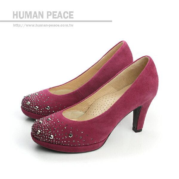 HUMAN PEACE 皮革 舒適 高跟鞋 戶外休閒鞋 紫色 女鞋 no175