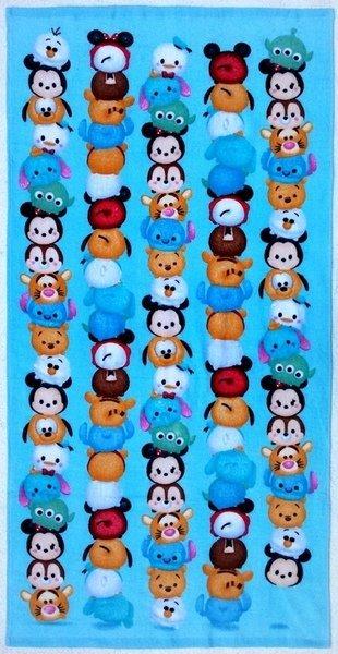 =優生活=迪士尼tsum tsum 米奇維尼布魯托三眼怪小飛象奇奇蒂蒂萌版全家福卡通全棉純棉小浴巾 海灘巾 全家迪士尼 (藍色)