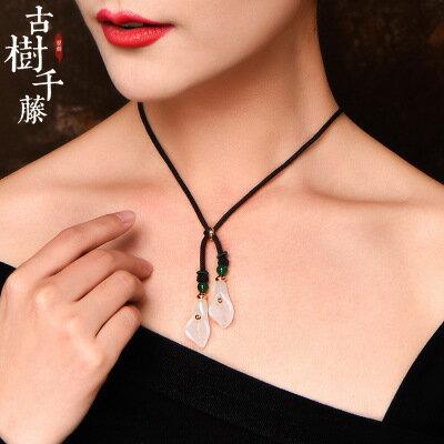 美琪新款(母親節禮物飾品)粉晶馬蹄蓮吊墜時尚潮人鎖骨短項鏈