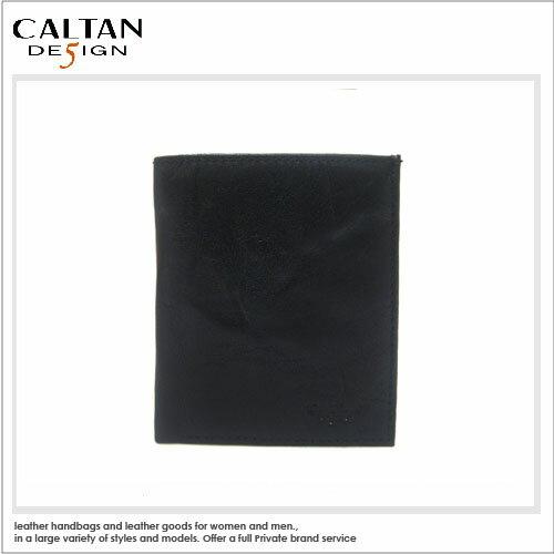 短夾-CALTAN - 輕熟男簡約款3卡左翻鈔票短夾 - 波浪紋黑色*1762