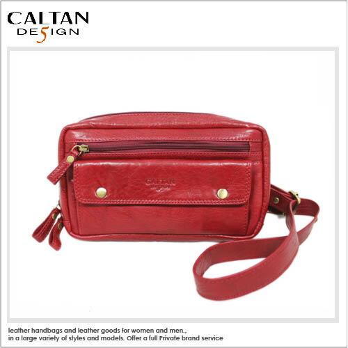 斜背包【CALTAN】手工牛皮率性斜背包-波浪紋紅*5203
