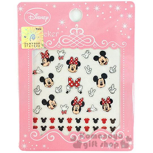 〔小禮堂〕迪士尼 米奇米妮 造型指甲貼《大臉.手套.粉包裝》