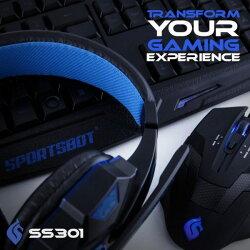 鍵盤 美國聲霸SoundBot SS301 藍色LED 遊戲設備組 電競耳機麥克風 鍵盤 滑鼠 羅技 js htc