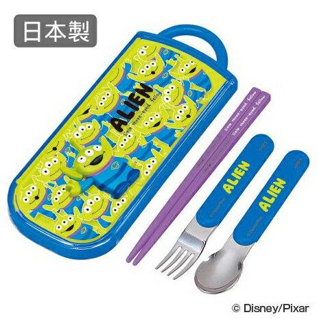 日本製三眼怪筷子湯匙叉子兒童餐具組附收納盒