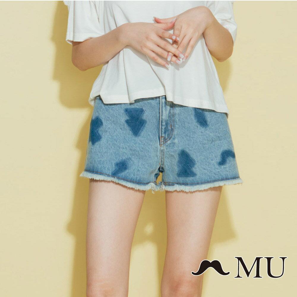 【MU】符號刷色抽鬚牛仔丹寧短褲(2色)8325161 1