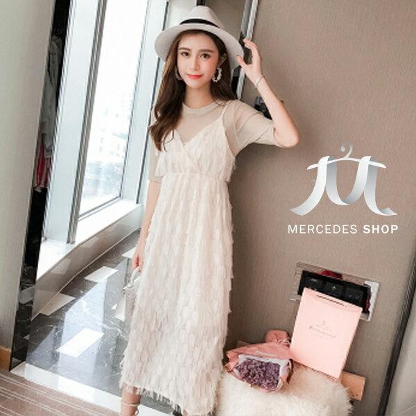 《全店75折》韓國流蘇羽毛吊帶連身裙兩件套短袖洋裝(S-XL,2色)-梅西蒂絲(現貨+預購)