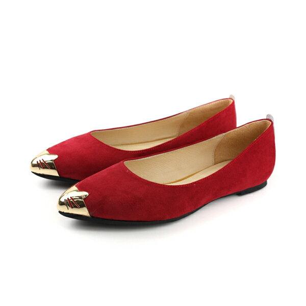 HUMAN PEACE:HUMANPEACE平底鞋休閒鞋尖頭麂皮女鞋紅色PE1114no598