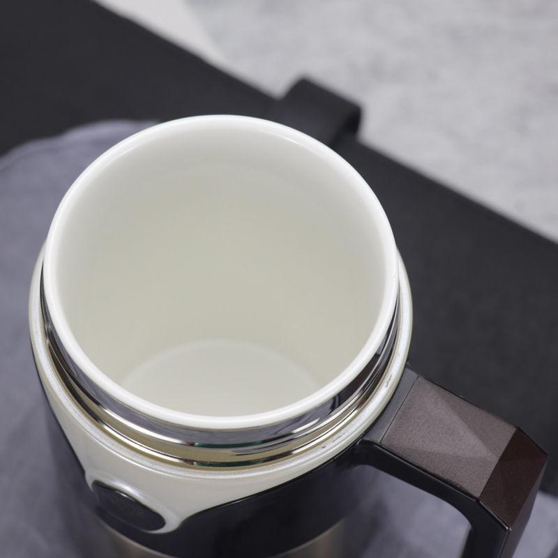 陶瓷內膽不銹鋼外殼骨瓷保溫杯辦公杯帶手柄