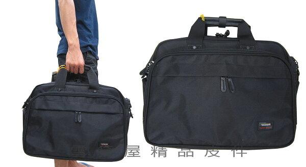 雪黛屋精品皮件:~雪黛屋~YESON旅行袋大容量二層主袋可A4資料夾MIT超大型公事工具袋萬用可外掛行李箱拉桿上合併使用Y55518