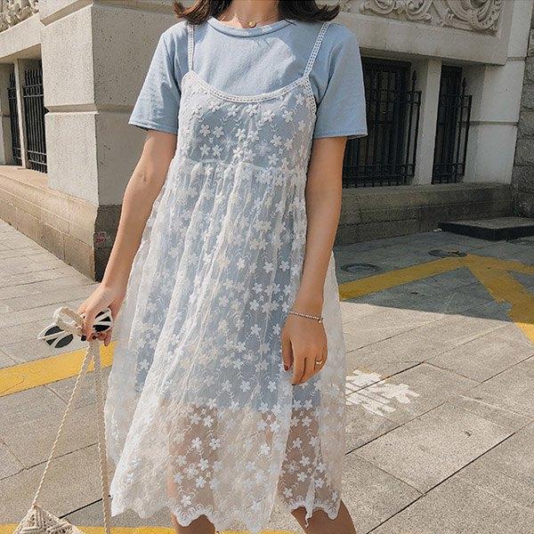短袖洋裝蕾絲網紗吊帶裙短袖長版T恤連身裙兩件套【NDF6420】BOBI0503