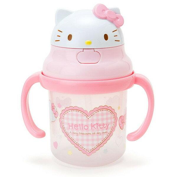 【真愛日本】15062400017 彈跳水壺-雙耳愛心格紋粉 三麗鷗 Hello Kitty 凱蒂貓 餐具 水瓶 水杯 正品 限量 預購