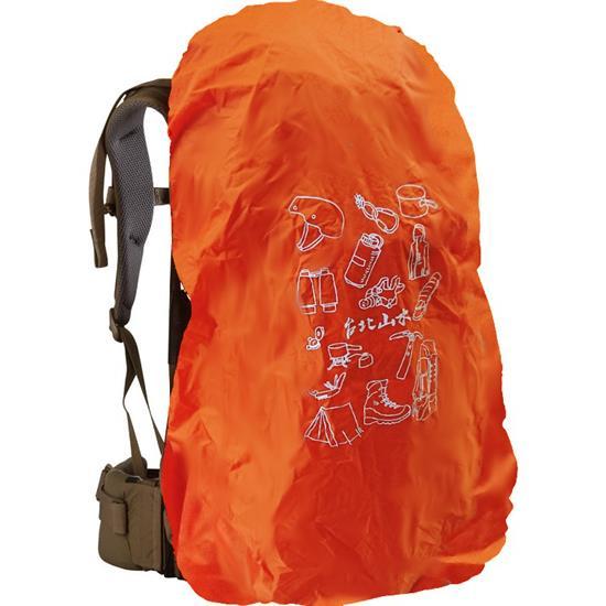 台北山水TPSS背包套防雨罩背包客登山旅遊插畫風-裝備圖案橘色多種尺寸可選