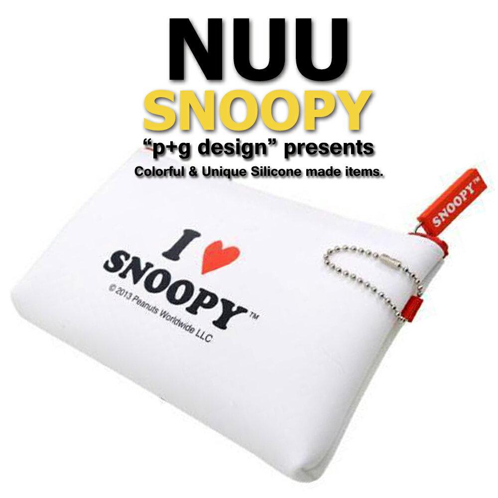 日本空運進口 p+g design NUU X Snoopy 2016 繽紛矽膠拉鍊零錢包 - 白色愛心款 1