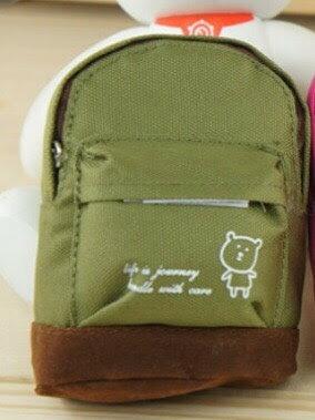 <br/><br/>  可愛背包帆布零錢包-綠色<br/><br/>
