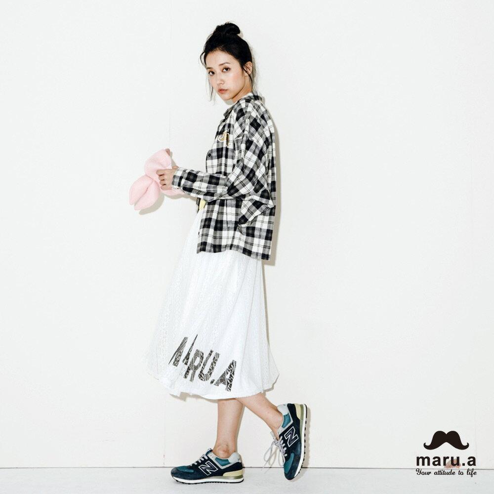 【maru.a】手繪LOGO印花布蕾絲長裙7926212 3