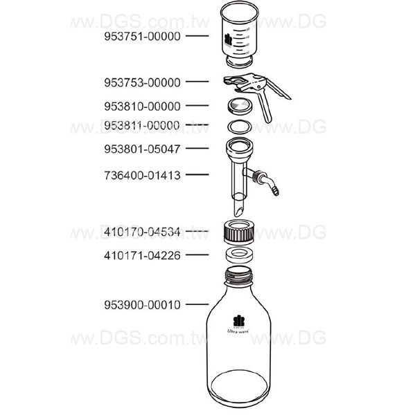 《KONTES》玻璃過濾器 Microfiltration Assemblies, 47mm, Fritted Stainless