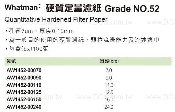 《Whatman?》硬質定量濾紙 Grade NO.52 Quantitative Hardened Filter Paper