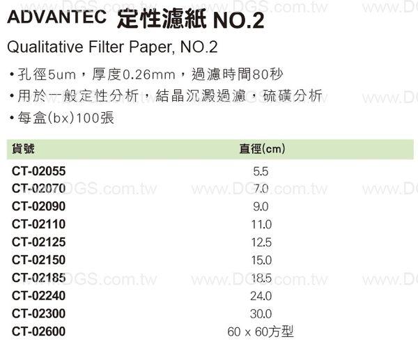 ~ADVANTEC~定性濾紙 NO.2 Qualitative Filter Paper