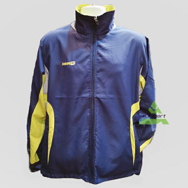 ON SALE↘5折【H.Y SPORT】SASAKI 男款防潑水功能平織運動夾克 L號 81114 丈青螢光色 可雙面穿