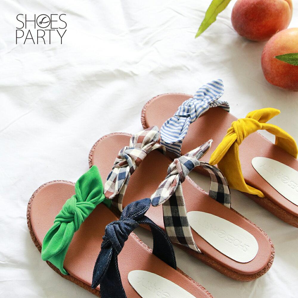 【S2-19626F】Simple+雙蝴蝶結漢堡底拖鞋_Shoes Party 0