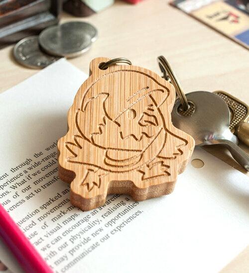 幸福森林.竹製可愛動物鑰匙圈 客製化禮物 老鷹妹妹